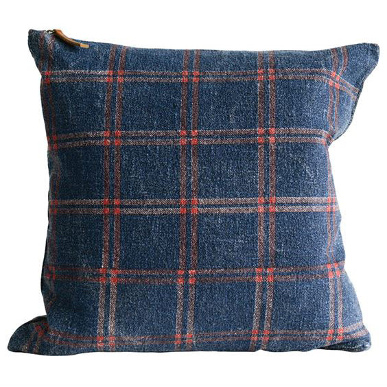 Navy Blue and Red Plaid Striped Pillow