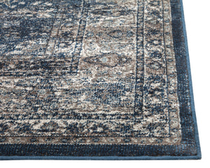 Navy Blue and Silver Faded Worn Overdyed Style Rug