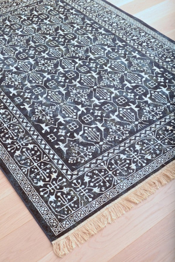 Ideal Modern Navy Blue and White Persian Style Fringe Rug - Woodwaves NL91