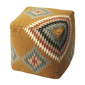 Boho Orange and Gray Pouf Ottoman