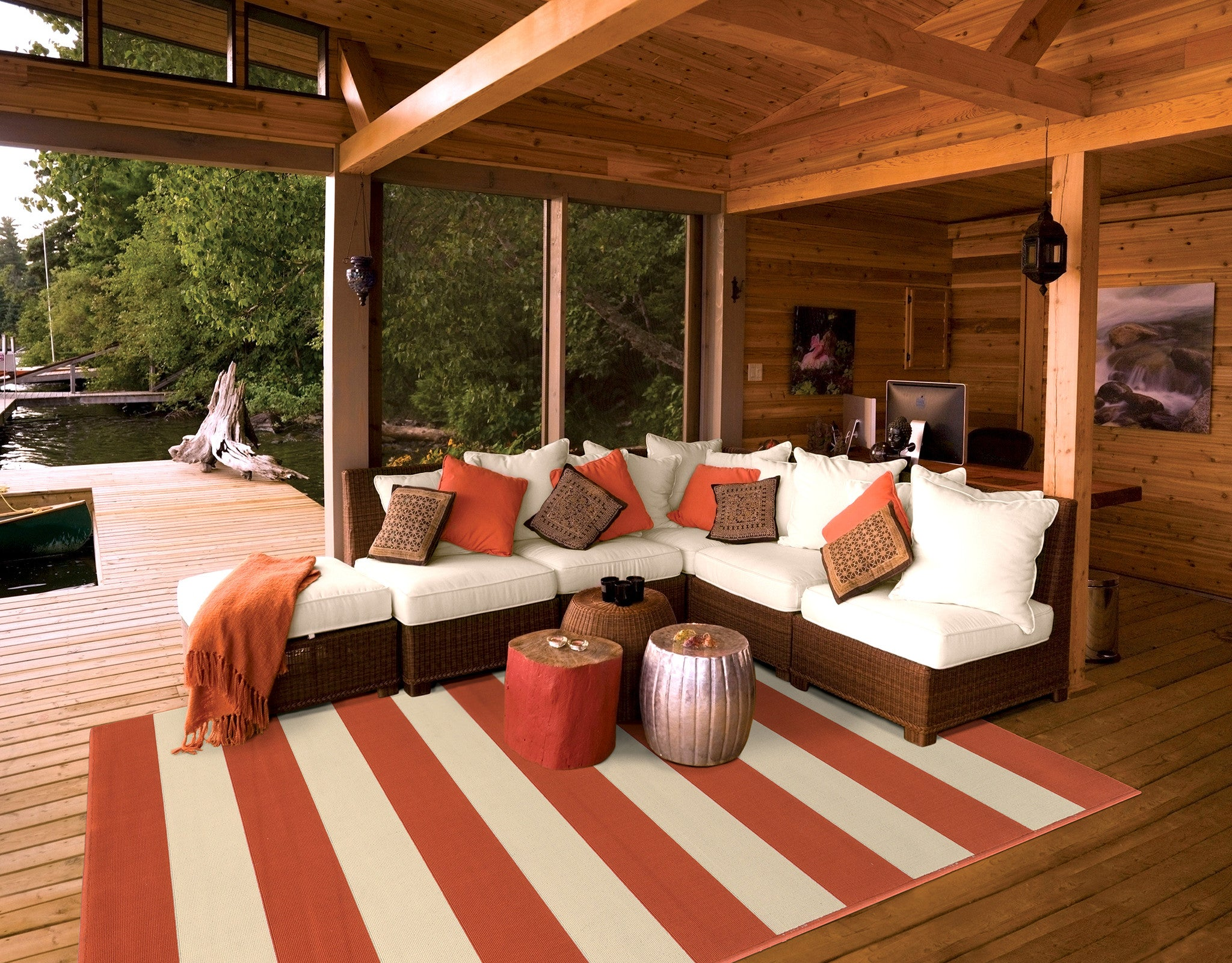 Orange Striped Outdoor Rug Woodwaves