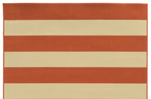 Orange Striped Outdoor Rug