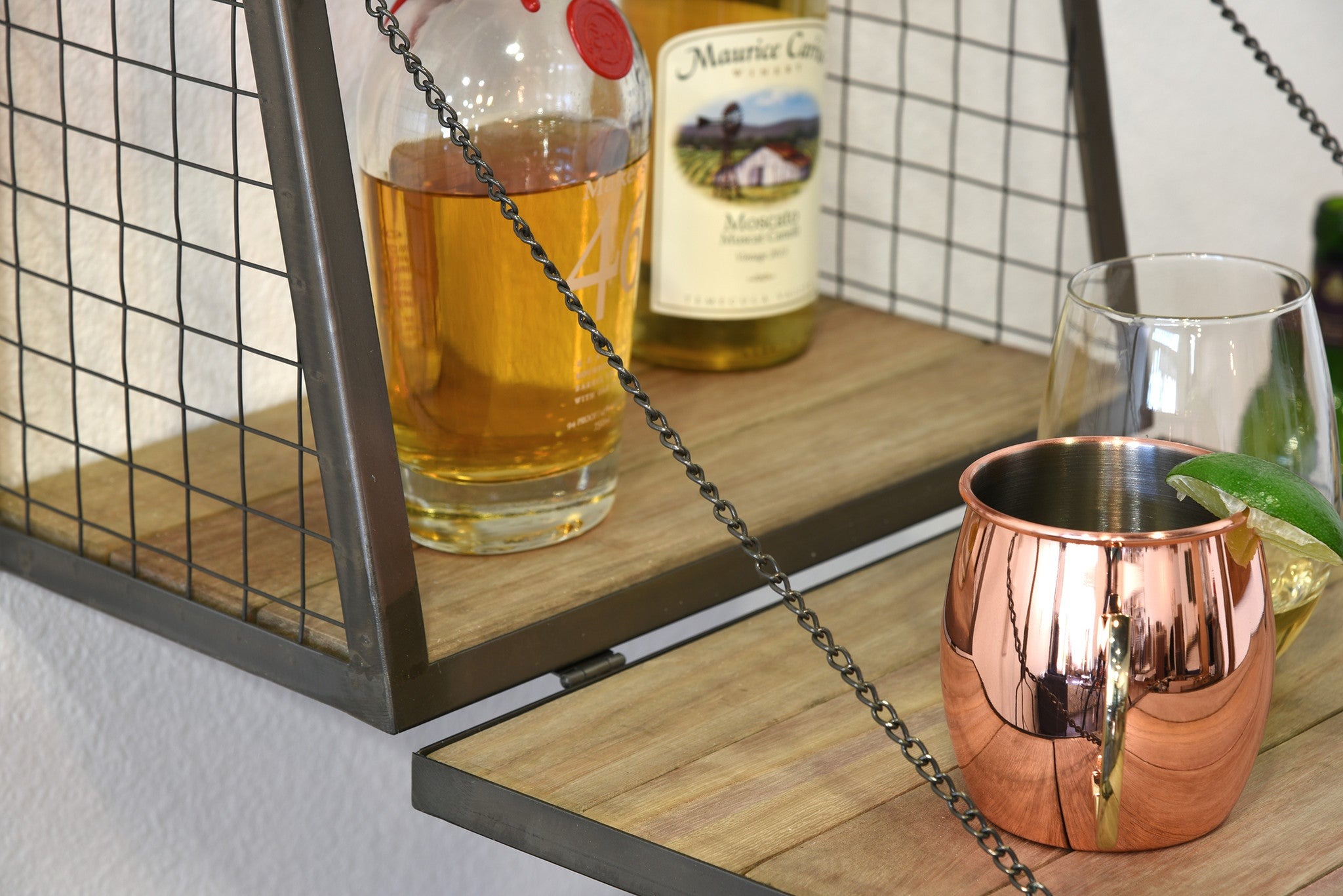 Floating Wall Mount Mini Bar Wine Liquor Shelf