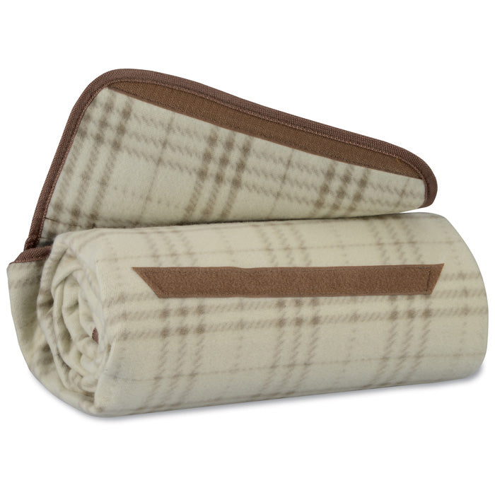 Woodwaves Brown and Tan Plaid Outdoor Picnic Blanket
