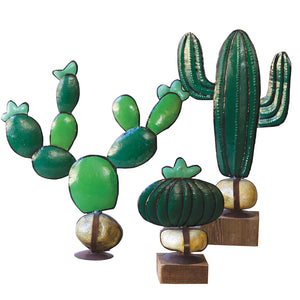 Painted Cactus on Rustic Rock and Wood Base - Set of 3
