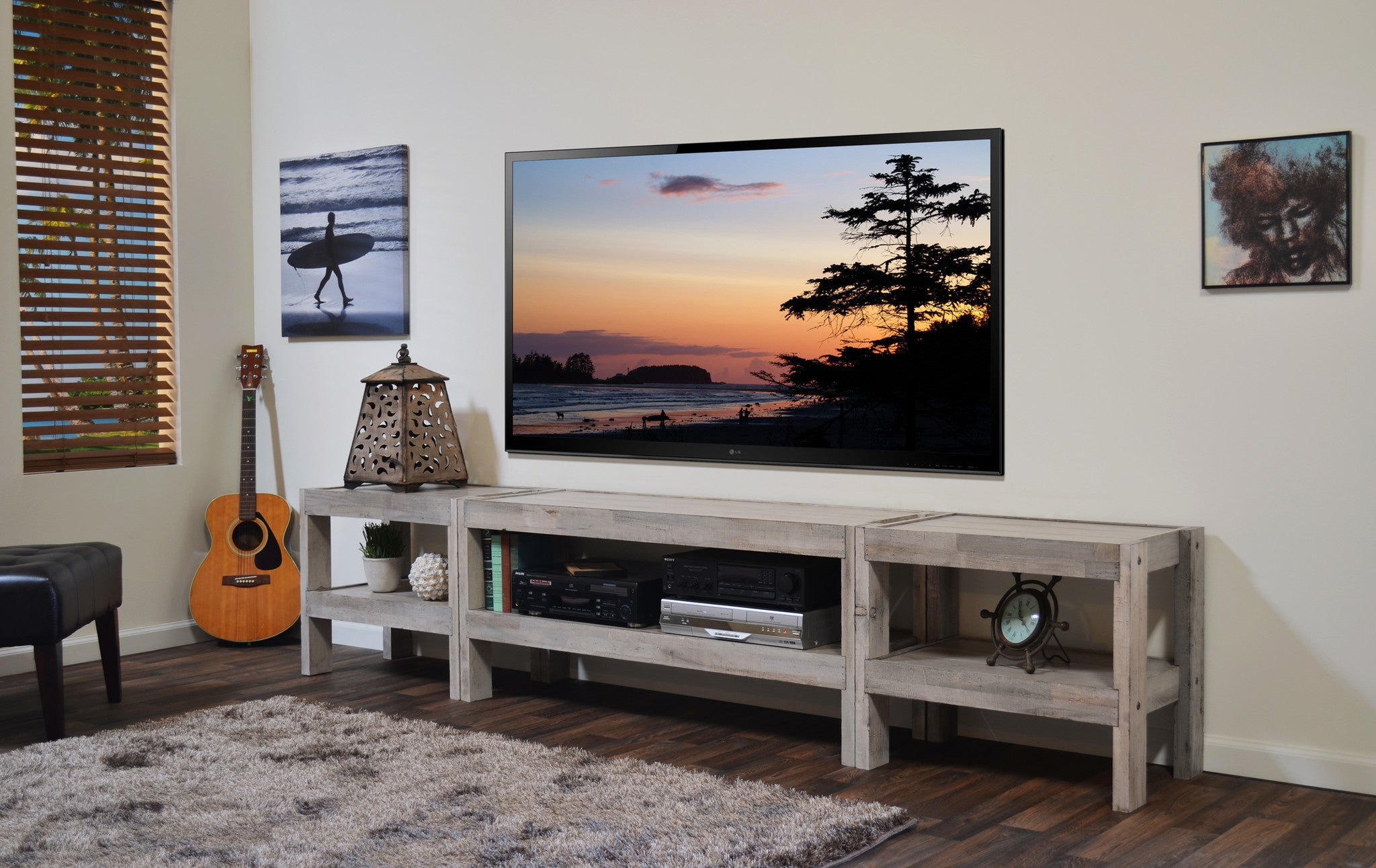 Coastal Gray Beach House TV Stand Entertainment Center U0026 Coffee Table    PresEARTH Driftwood