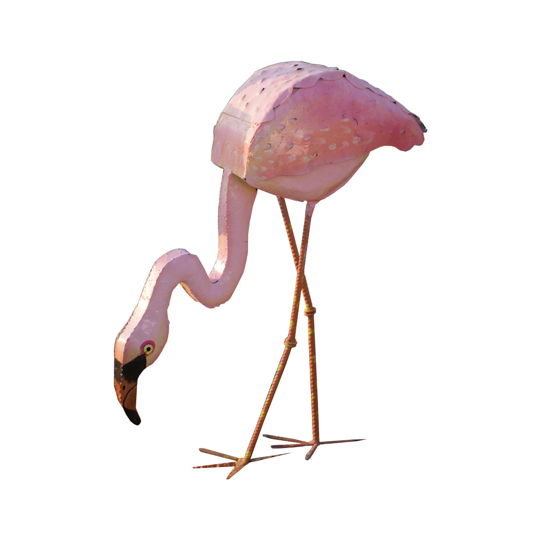 Pink Flamingo Painted Metal Decorative Statue (head Down)