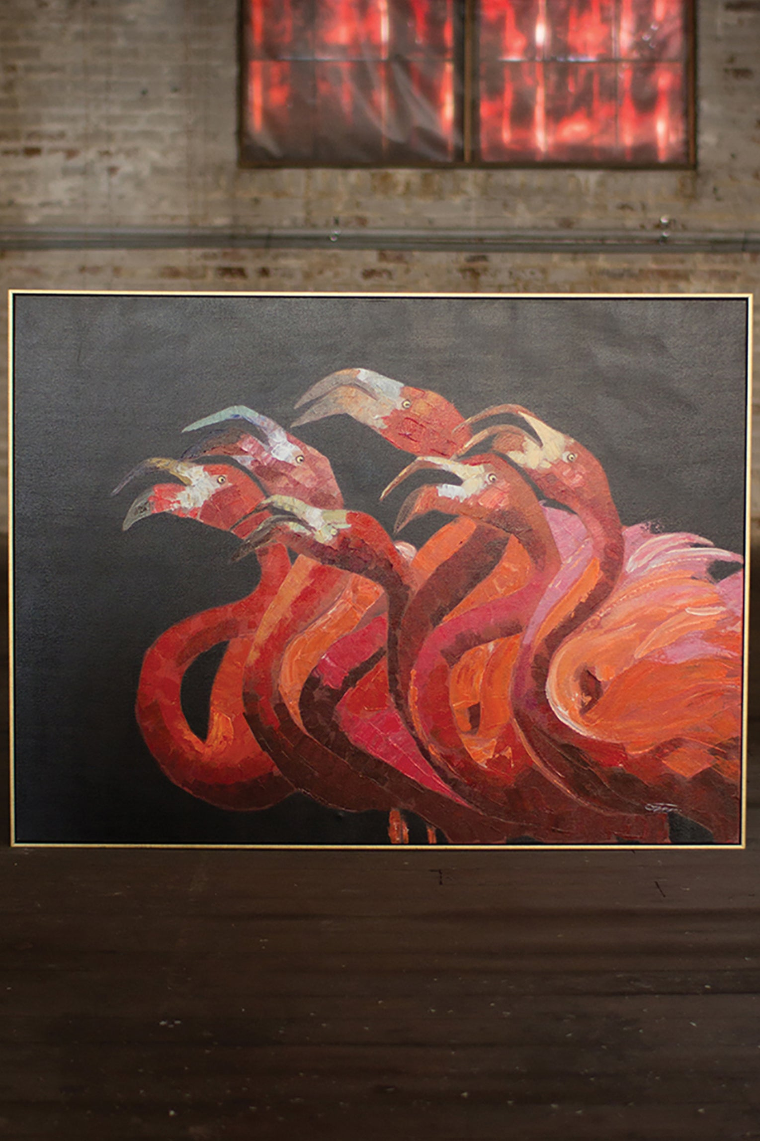 Pink Flamingos With Gold Frame Oil Painting