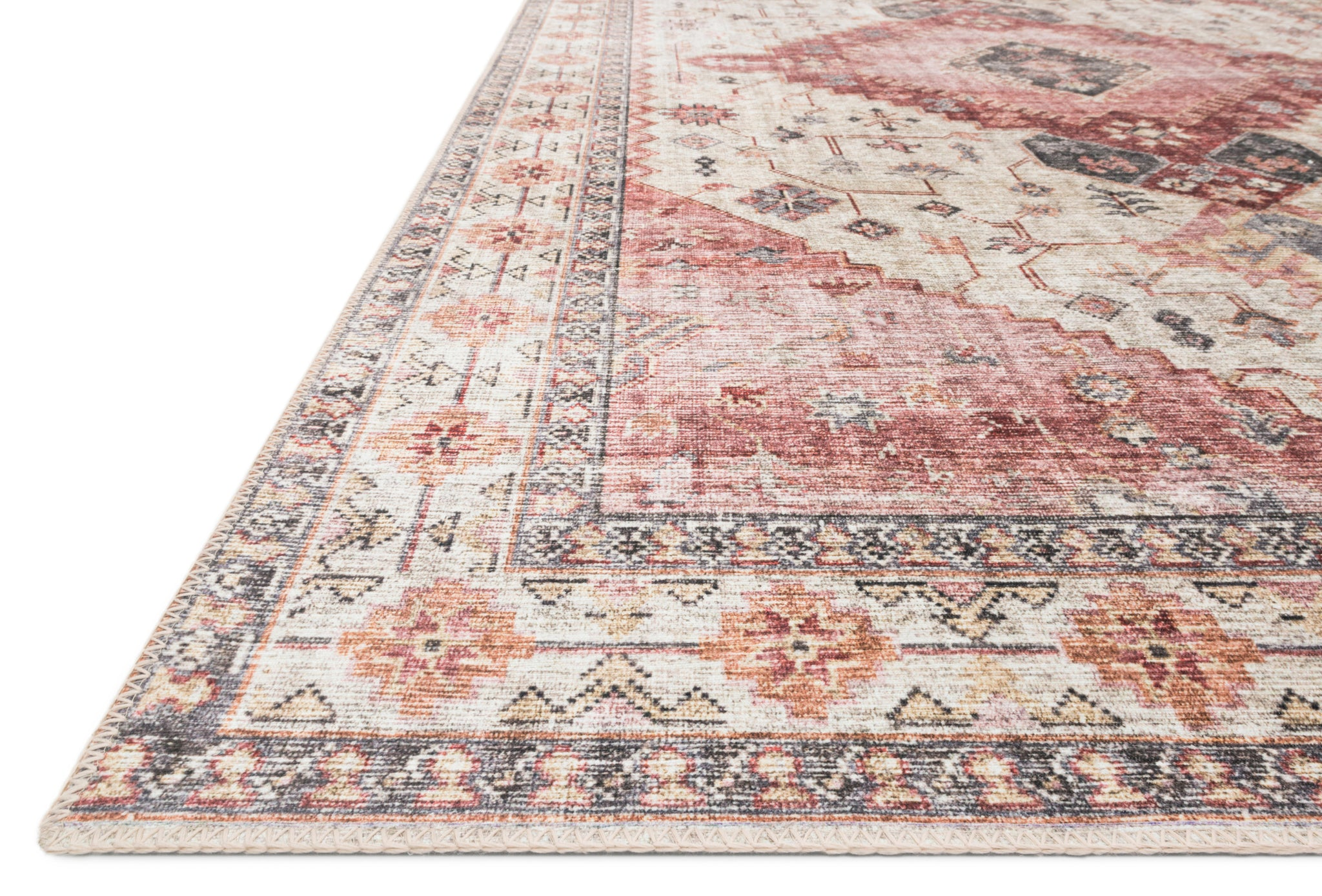 Pink and Gray Southwestern Boho Bohemian Persian Style Rug