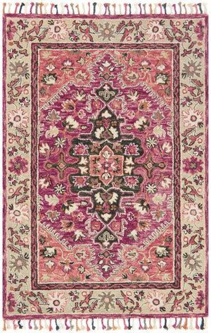 Pink and Taupe Boho Bohemian Tassel Area Rug