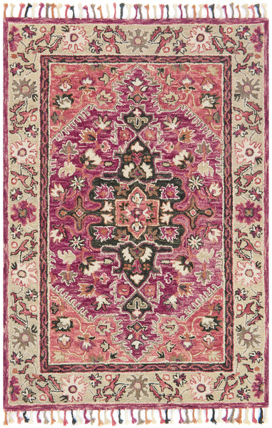 Pink And Taupe Boho Bohemian Tassel Area Rug Woodwaves