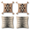 Pink, Black and Ivory Bohemian Tasseled Pillows - Set of Four