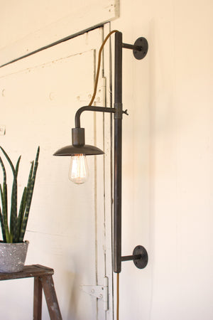 Industrial Modern Vertically Adjustable Edison Plug In Wall Sconce