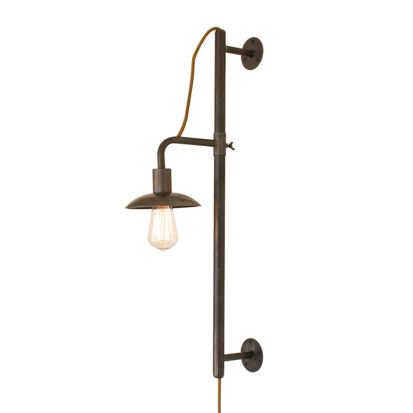 Modern Wall Sconces Plug In : Industrial Modern Vertically Adjustable Edison Plug In Wall Sconce - Woodwaves