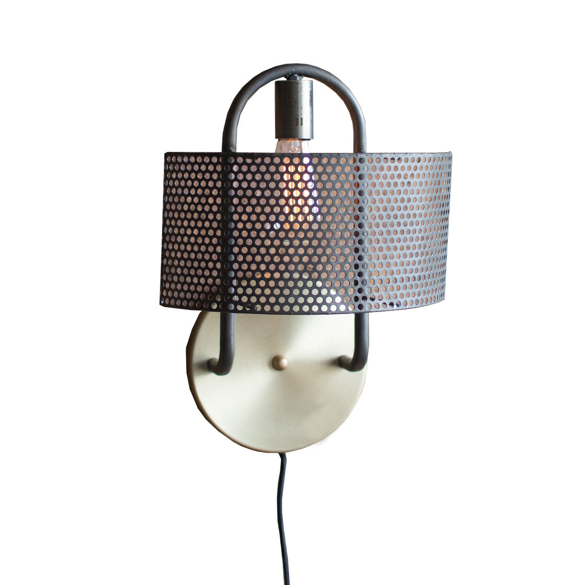 Modern Wall Lamps With Cord : Perforated Shade Industrial Modern Plug In Wall Sconce - Woodwaves