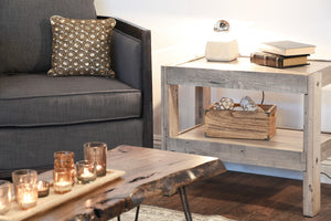 Gray Beach House Rustic End Table / Nightstand - presEARTH Driftwood