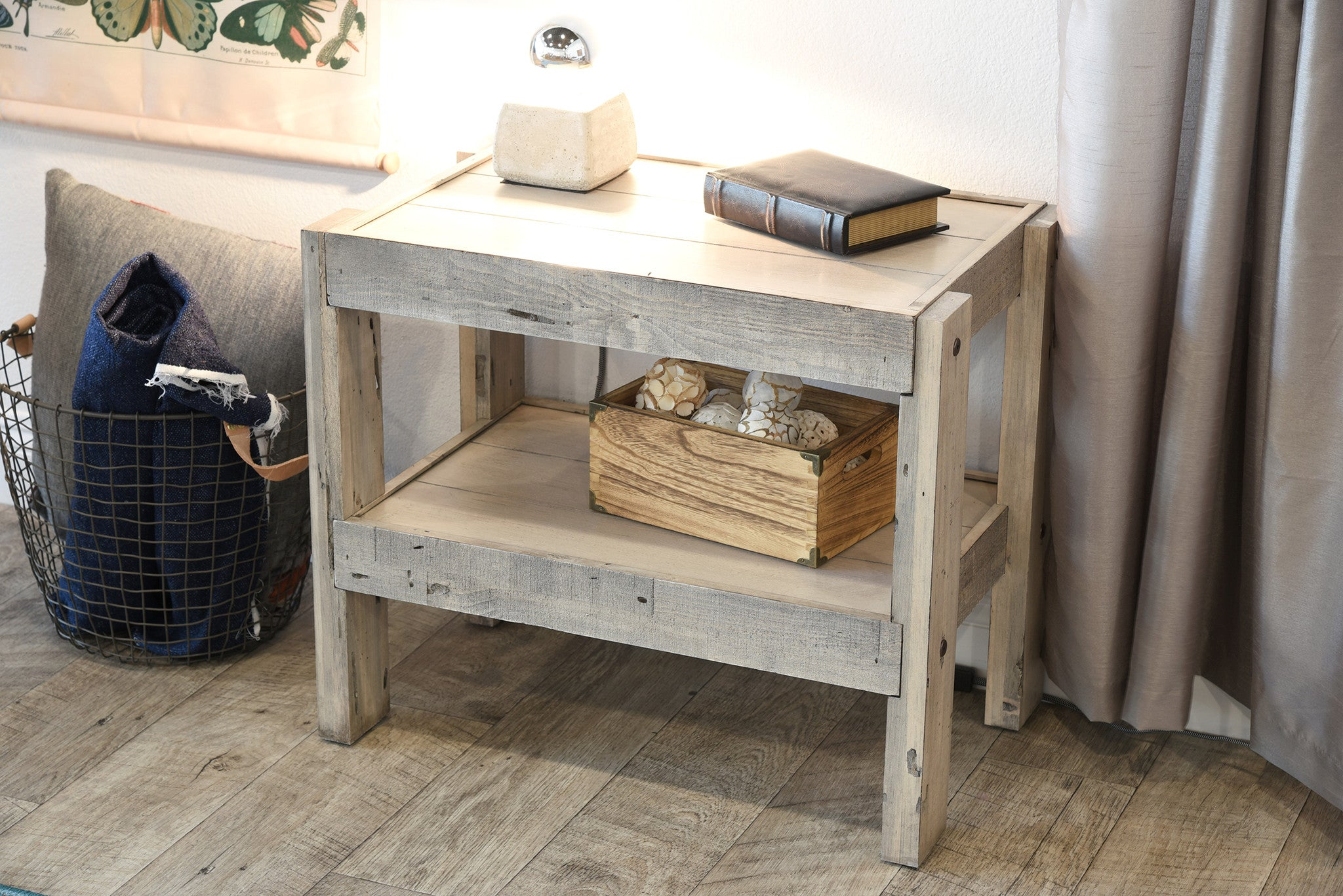 Gray Beach House Rustic End Table Nightstand