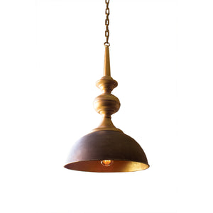 Raw Metal & Antique Gold Pendant Lamp