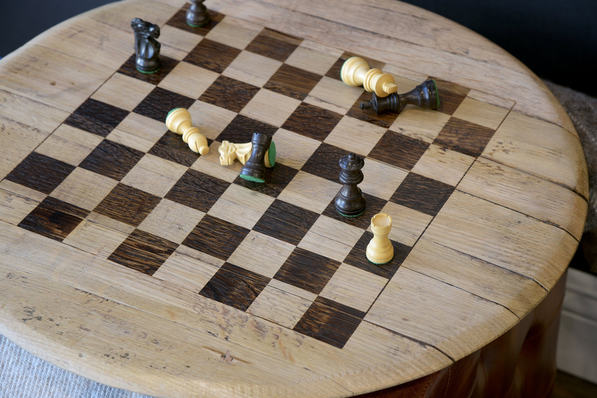 Reclaimed Wood Repurposed Bourbon Barrel Head Chess Board Game