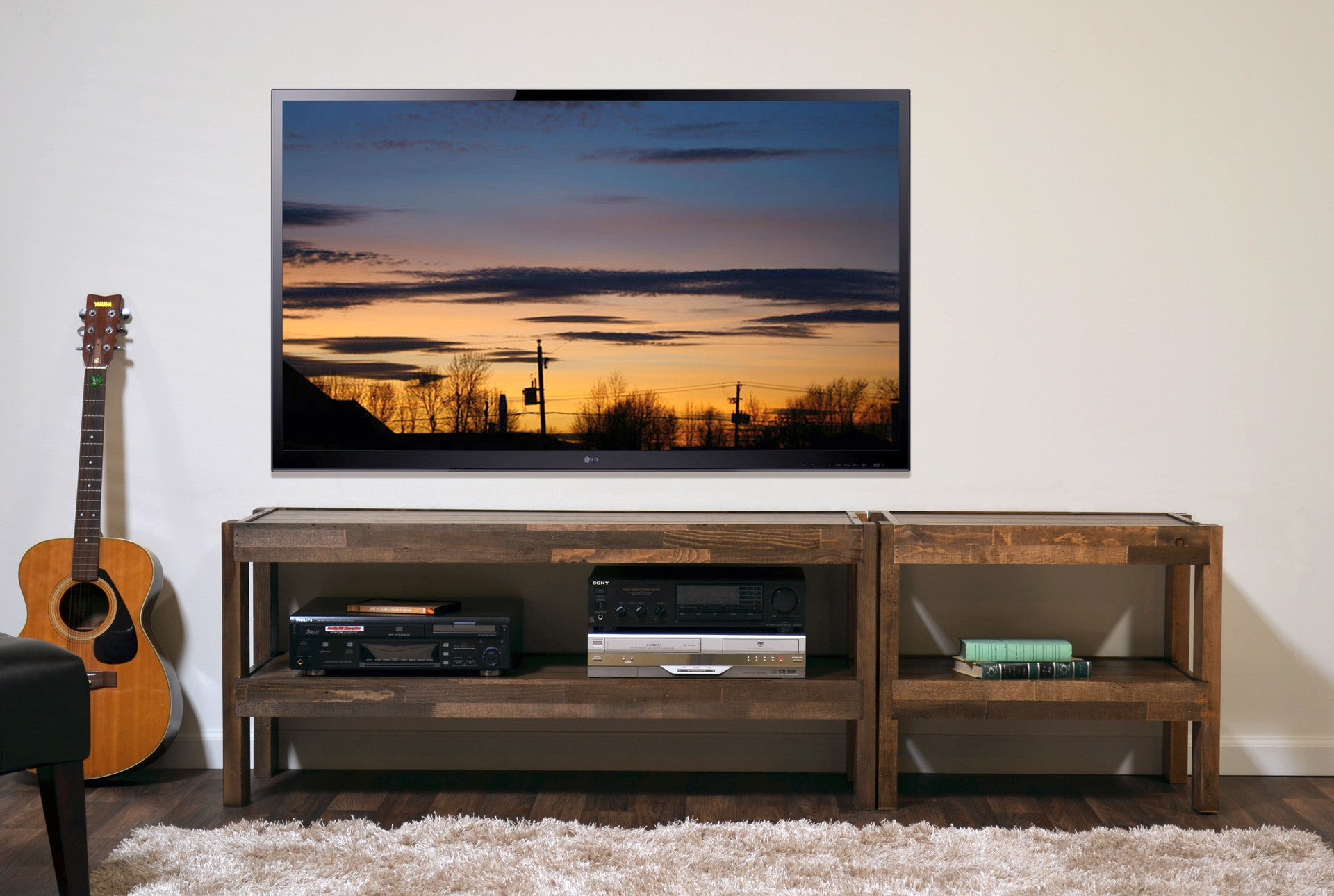 Rustic Reclaimed Barn Wood Style Entertainment Center Tv