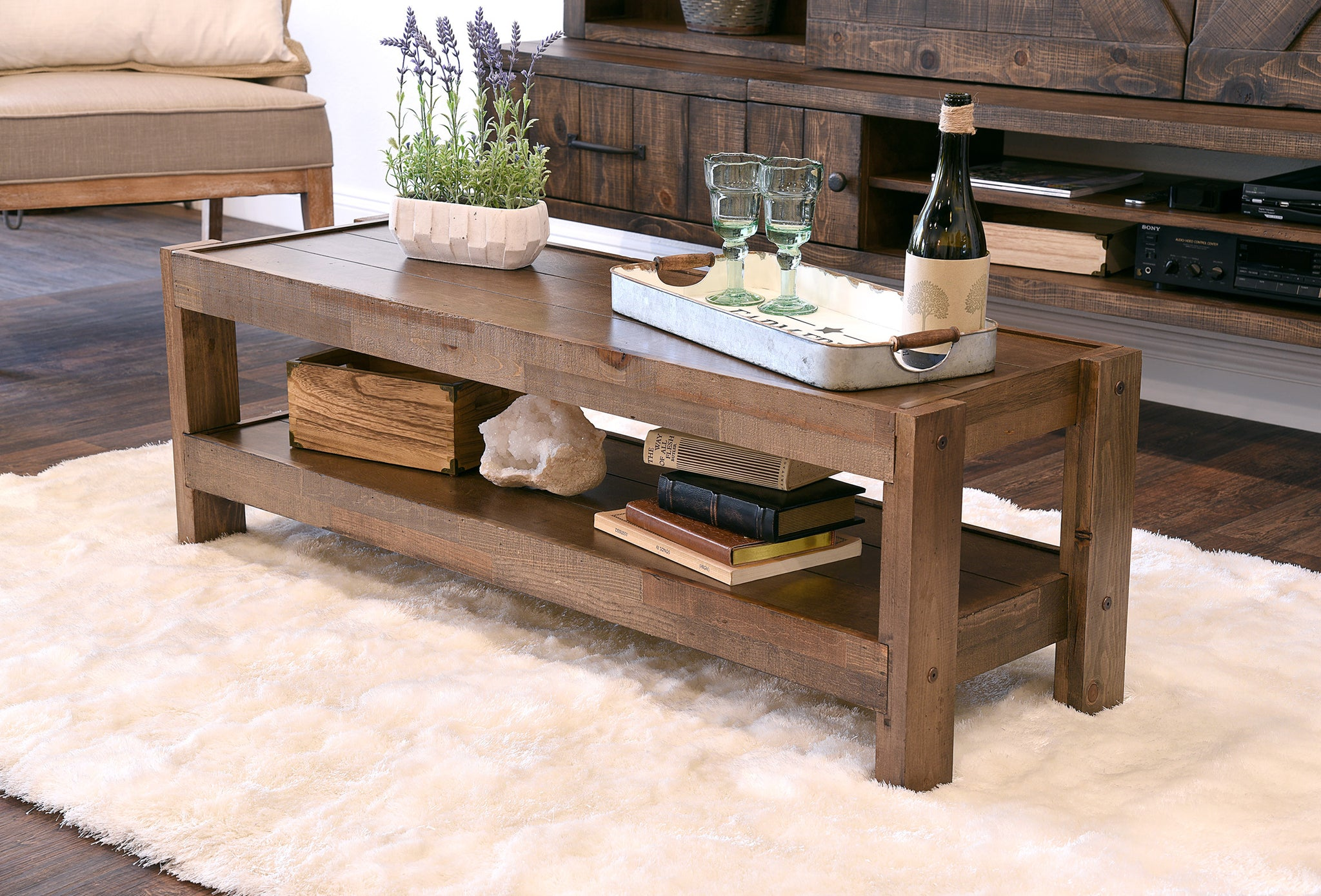 Rustic Reclaimed Farmhouse Pallet Wood Style Coffee Table   PresEARTH Spice