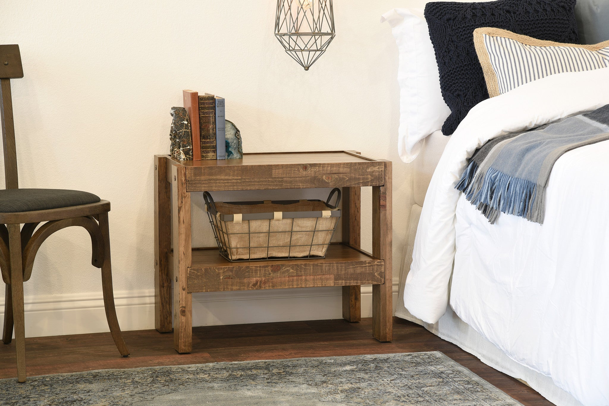 Reclaimed Rustic Farmhouse Pallet Wood Style End Table / Nightstand    PresEARTH Spice