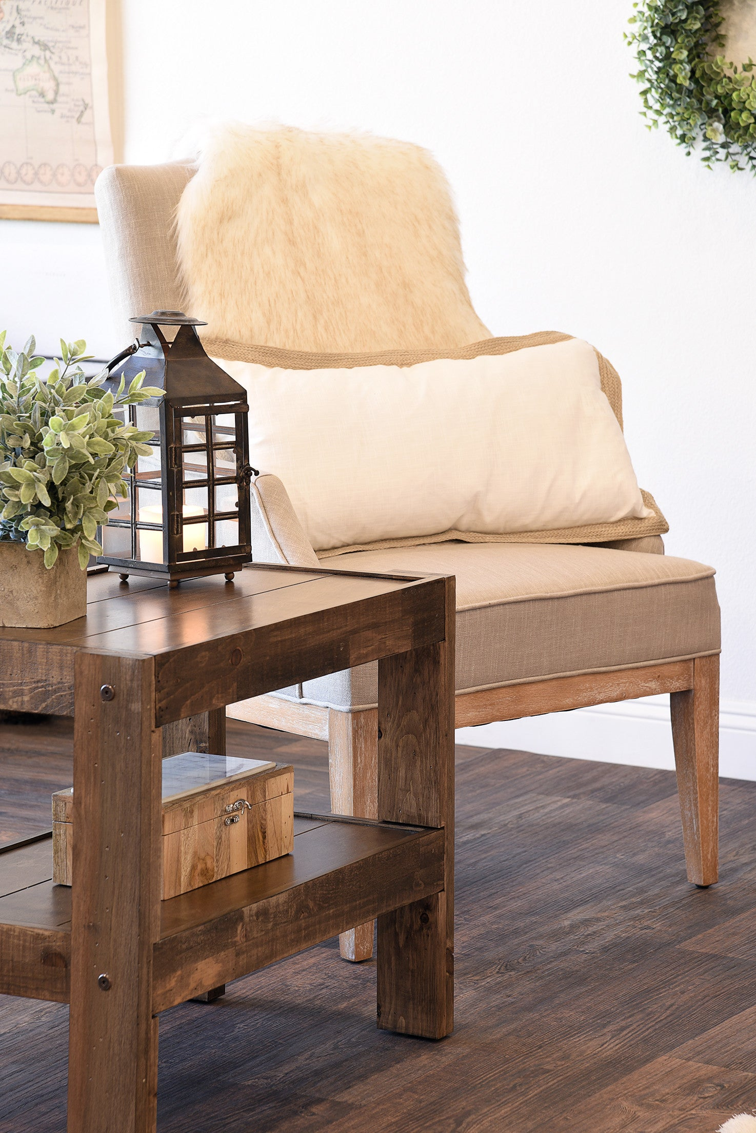 industrial modern furniture. Reclaimed Rustic Farmhouse Pallet Wood Style End Table / Nightstand - PresEARTH Spice Industrial Modern Furniture D