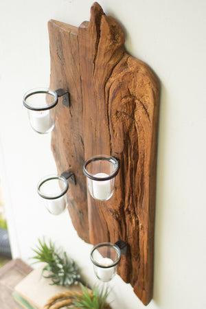 Reclaimed Rustic Wood Candle Wall Sconce