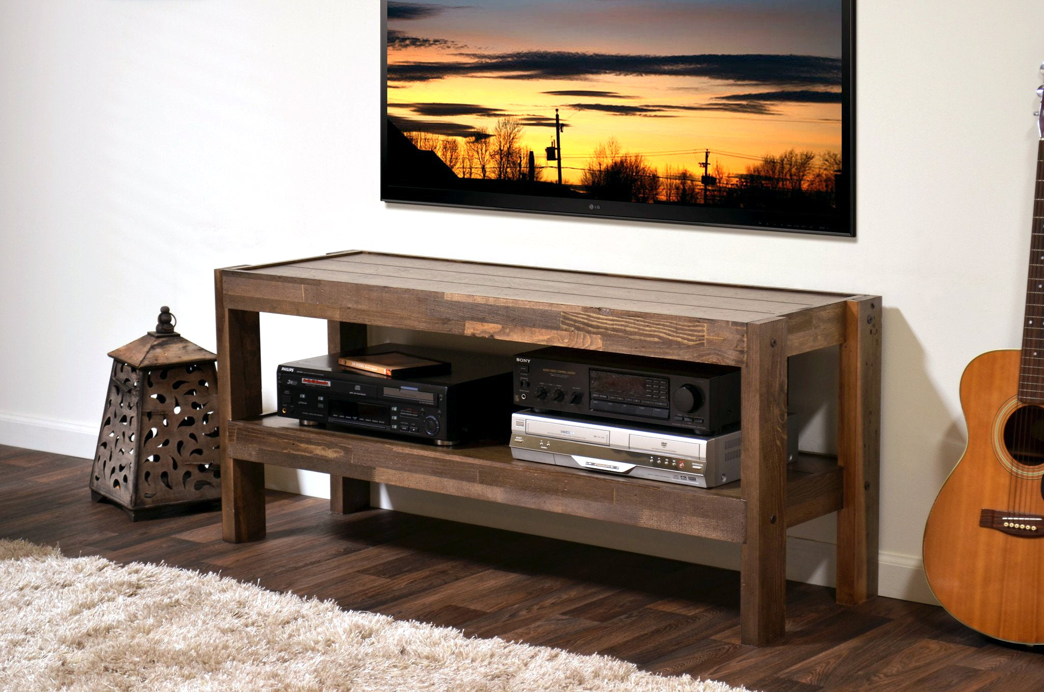 presEARTH Spice Rustic Reclaimed Barn Wood Style TV Stand