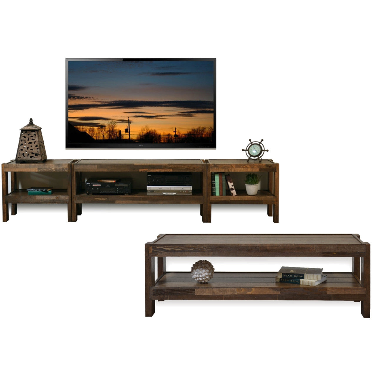Rustic Reclaimed Pallet Wood Style Entertainment Center TV Stand U0026 Coffee  Table   PresEARTH Spice
