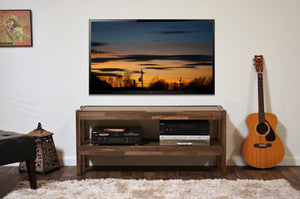 Rustic Reclaimed Barn Wood Style Entertainment Center TV Stand - presEARTH Spice