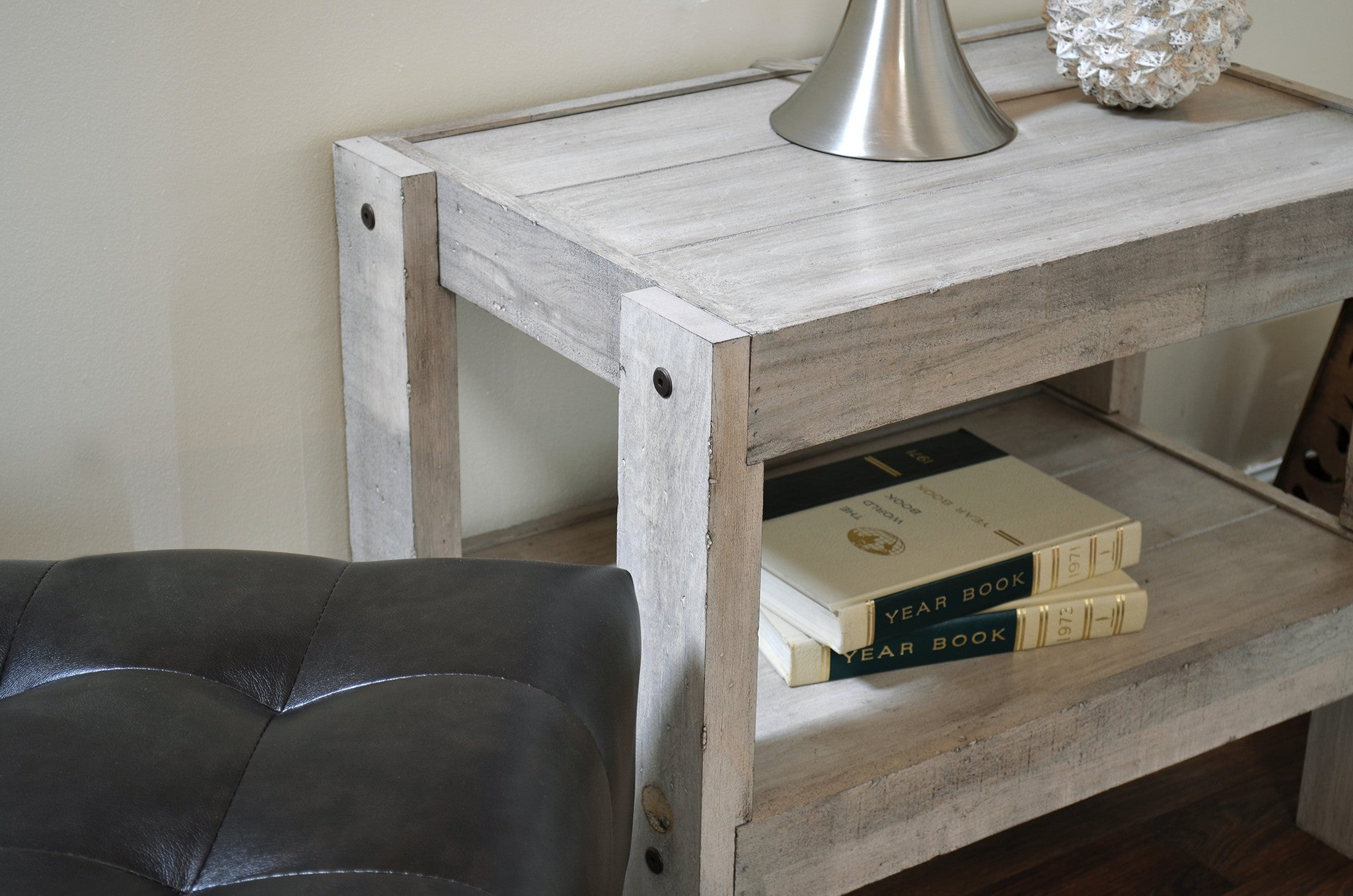Gray beach house rustic end table nightstand presearth for Diy coffee and end tables