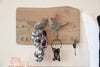 Reclaimed Whitewash Wood Live Edge Key Coat Hook Organizer