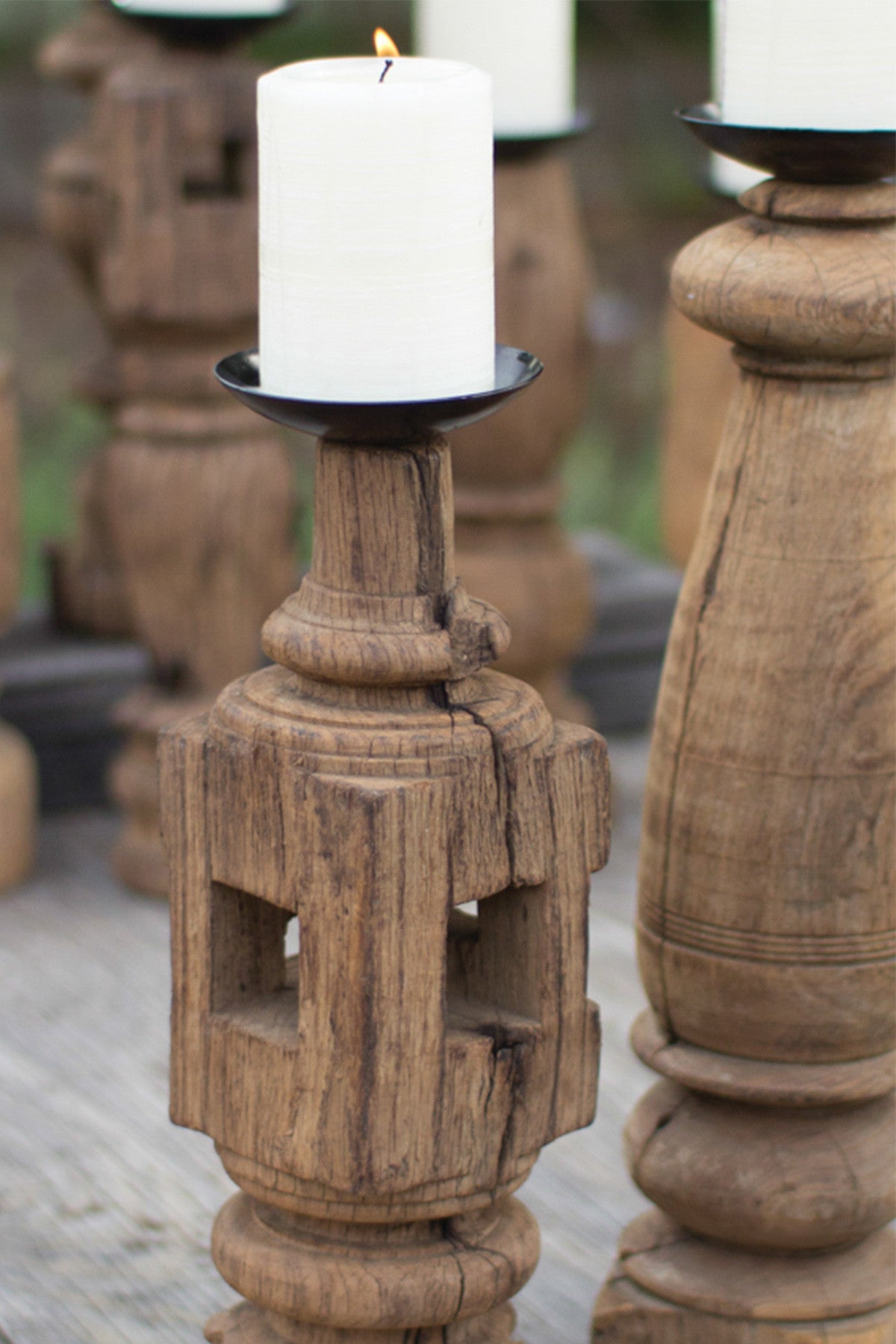 Reclaimed Wood Furniture Leg Candle Holders - Set of 3