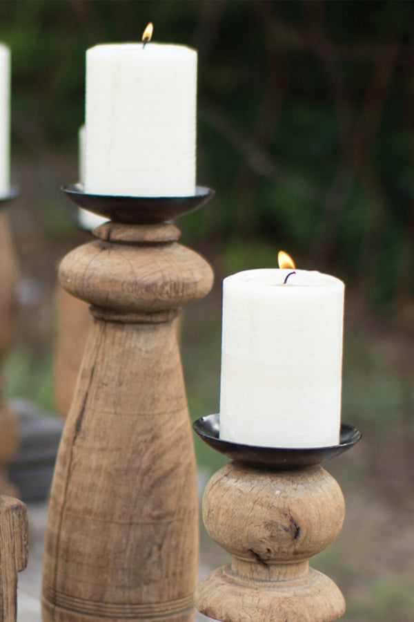 Reclaimed Wood Furniture Leg Candle Holders Set Of 3 Woodwaves