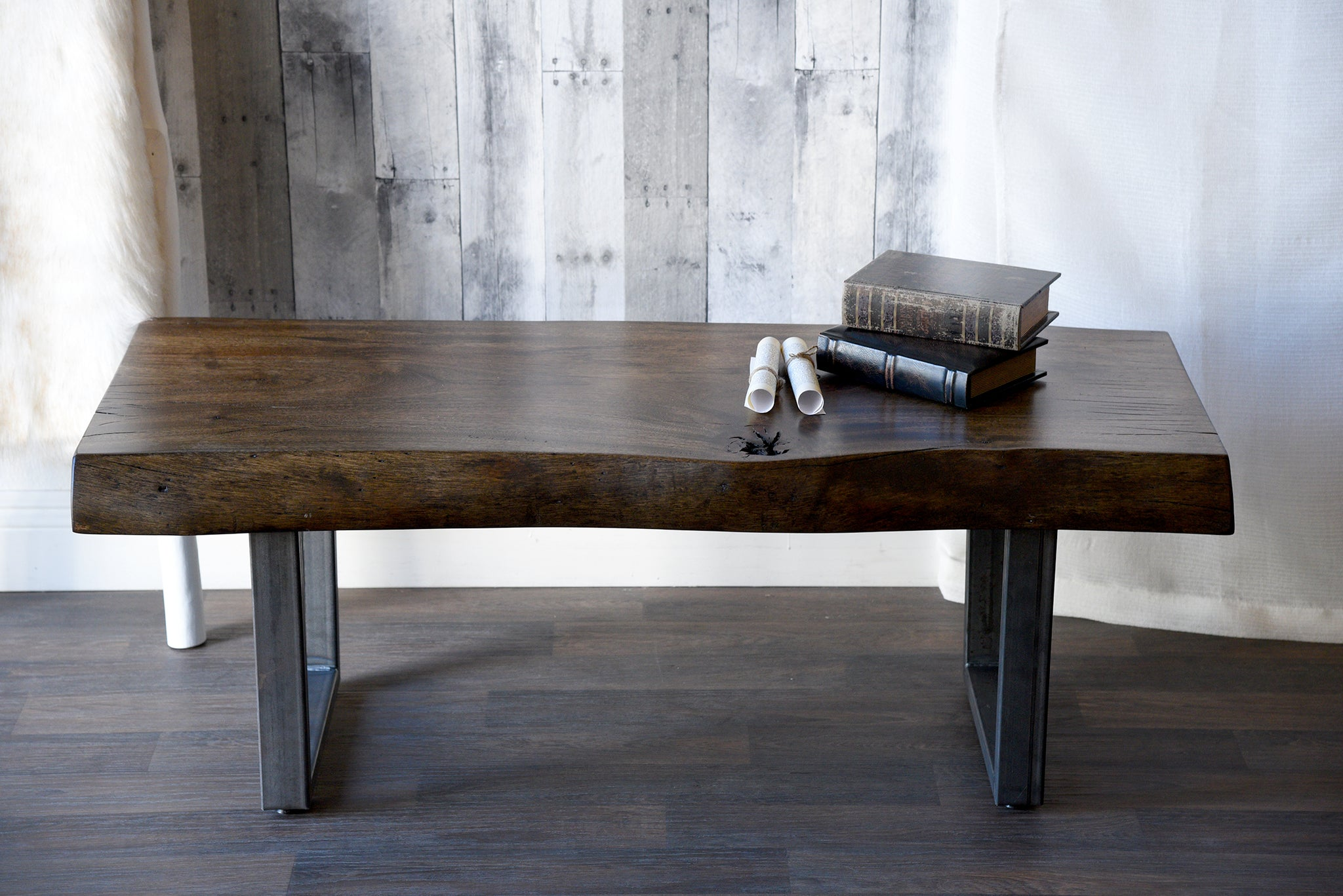 Reclaimed Wood Live Edge Log Coffee Table Bench