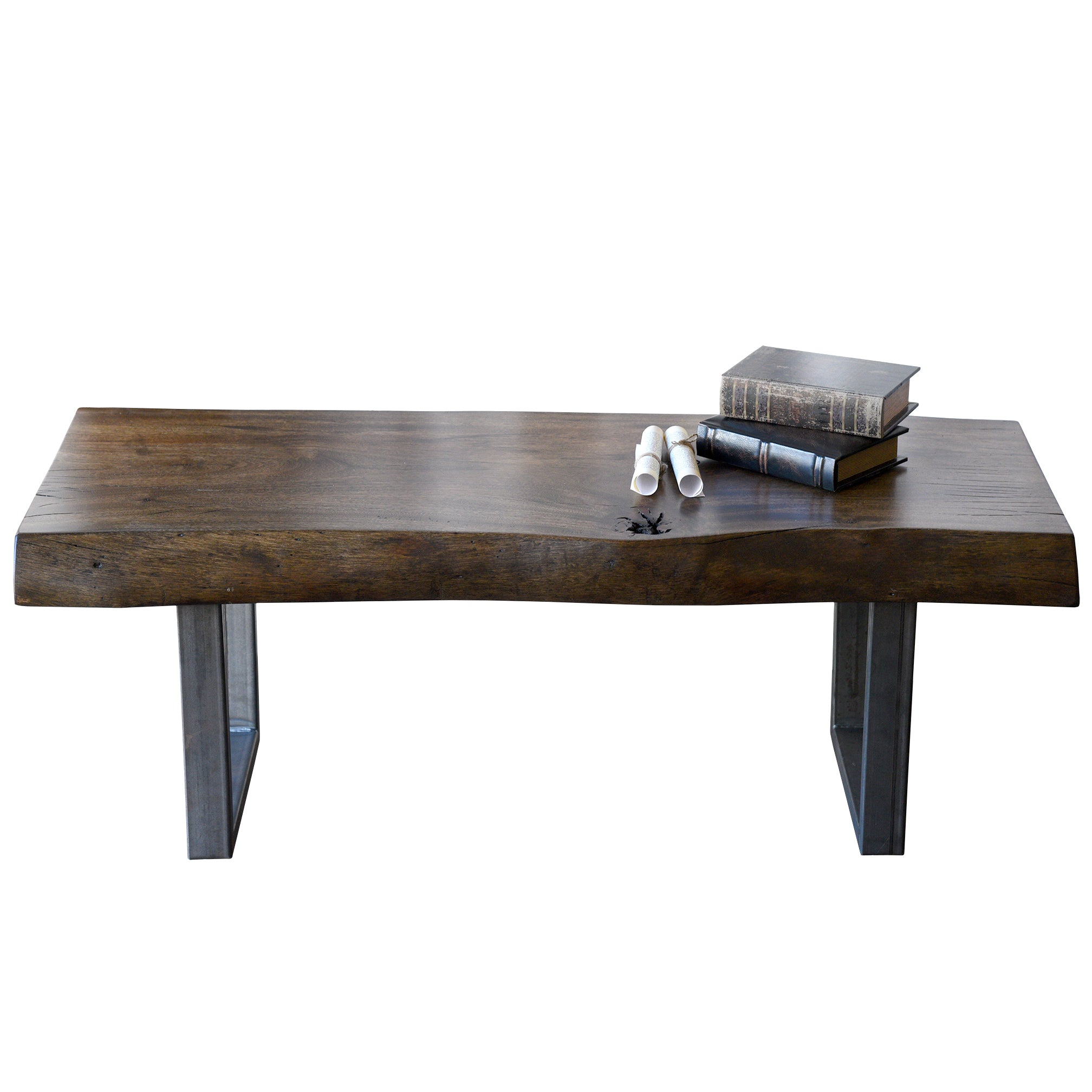 - Reclaimed Wood Live Edge Log Coffee Table Bench - Woodwaves