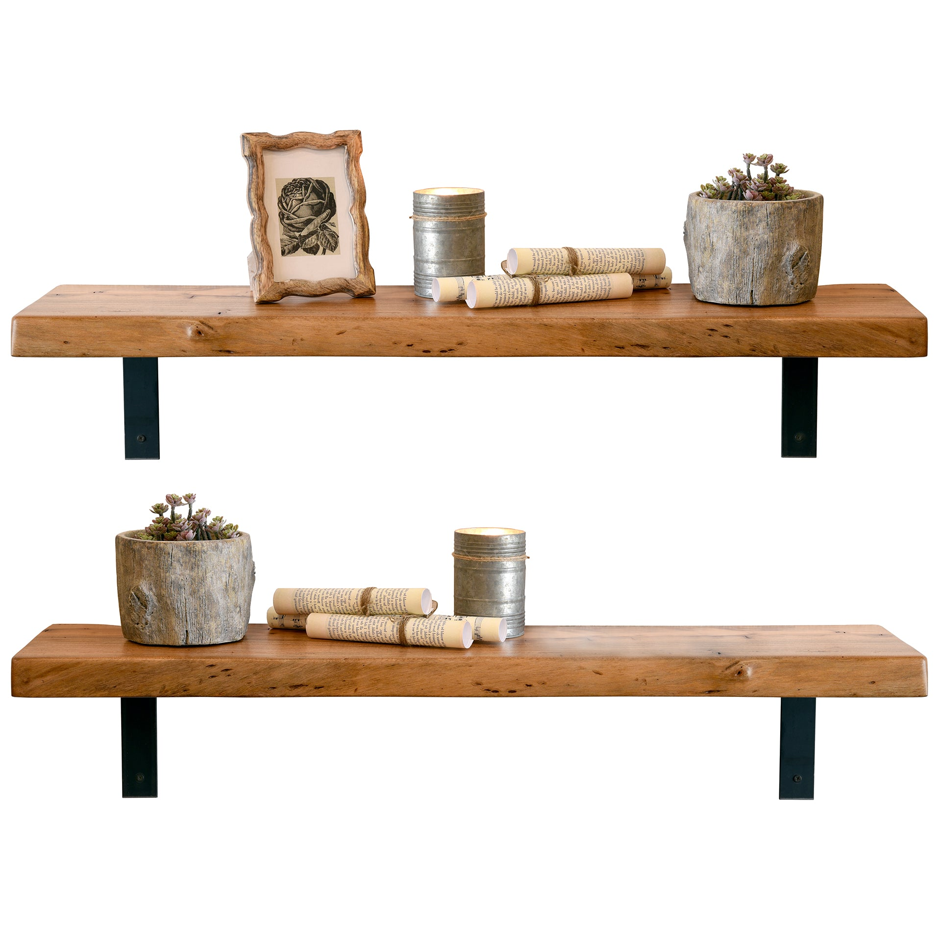 Light Reclaimed Wood Live Edge Slab Shelves - Set of 2