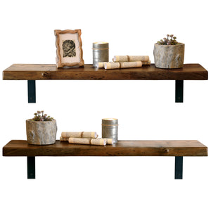 Dark Reclaimed Wood Live Edge Slab Shelves - Set of 2