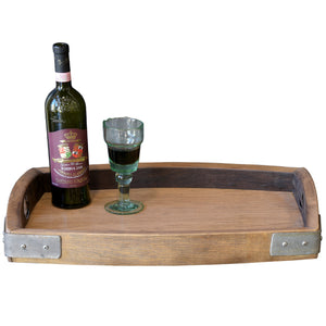 Reclaimed Wood Repurposed Oak Wine Barrel Serving Tray