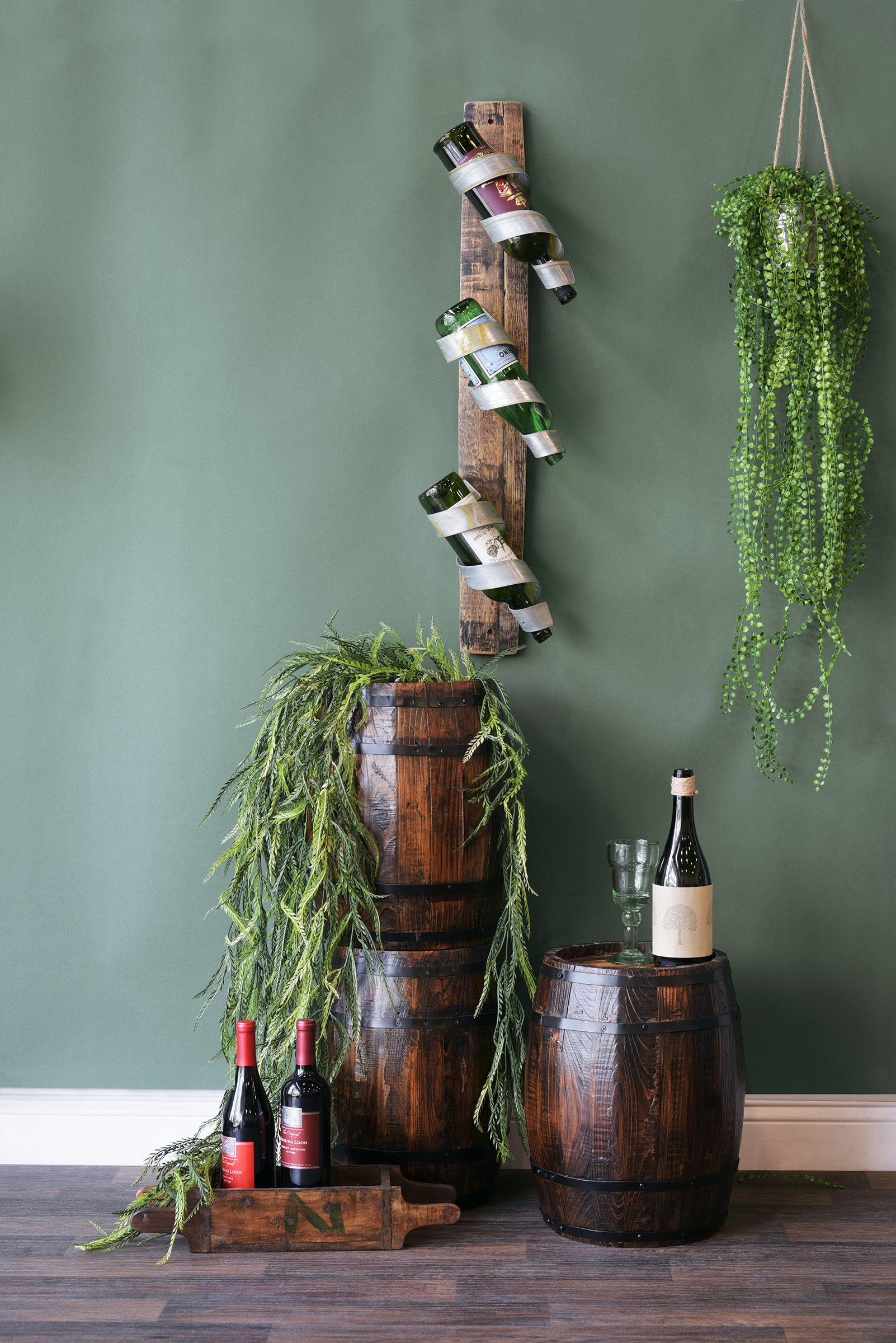 Wall Mount Wine Bottle Rack On Reclaimed Wood Barrel Stave