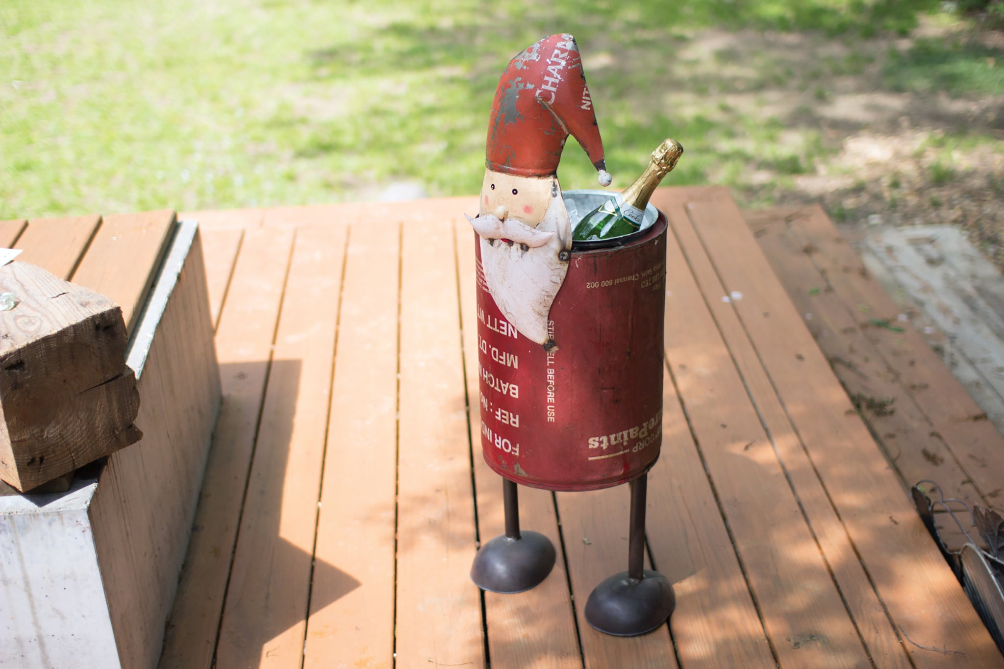 Recycled Metal Santa Clause Wine Bucket