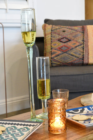 Set of 6 Mid Century Style Champagne Flutes Recycled Glass