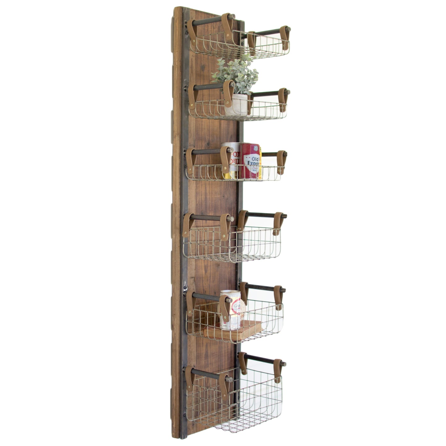 Recycled Wood & Metal Floating Wire Basket Wall Shelves