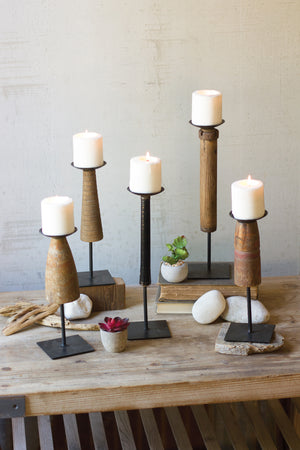 Recycled Wood Candle Stands With Iron Base - Set of 5