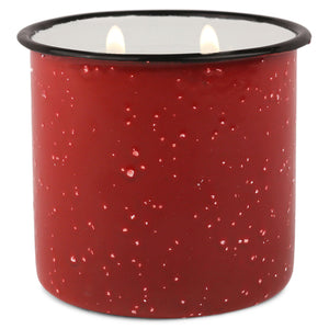 Red Enamel Camping Mug Candle - Pomegranate Spruce - Woods Scented