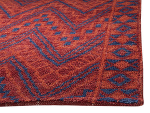 Red Orange Blue Southwest Santa Fe Pattern Wool Area Rug