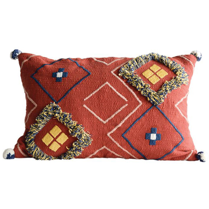 Red Orange Boho Southwest Fringe Pom Pom Pillow