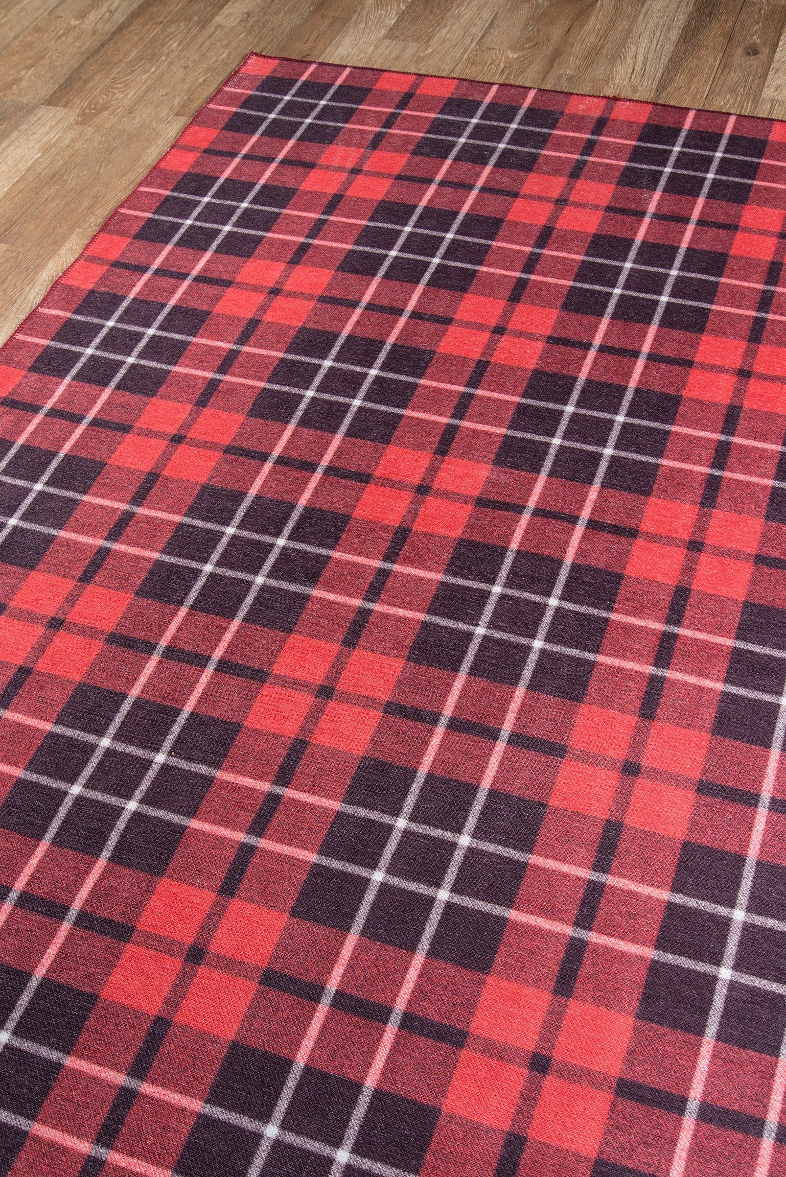 Red Plaid Tartan Area Rug - Novogratz - District