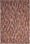 Red Purple Ivory Hand Woven Wool Area Rug